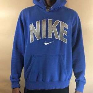 Awesome Blue,grey,and white nike hoodie size Large